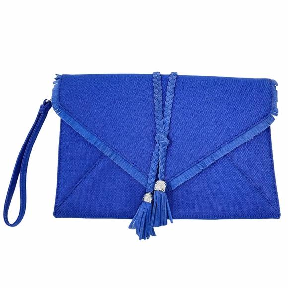 WHBM Blue Linen Tassel Clutch Wristlet Fringe Bag